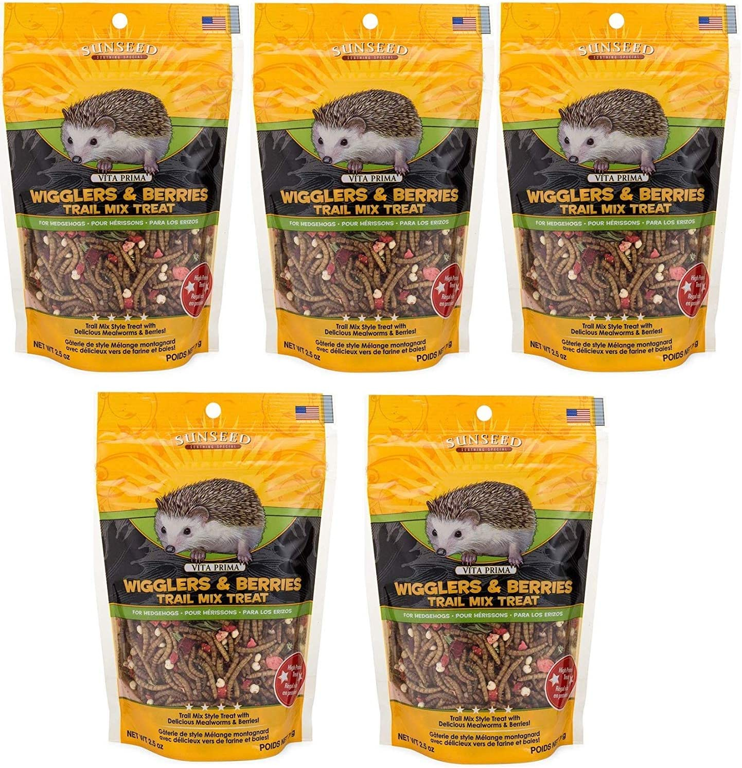 Sunseed Company 5 Pack of Wigglers and Berries, 2.5 Ounces Each, Trail Mix Treat for Hedgehogs