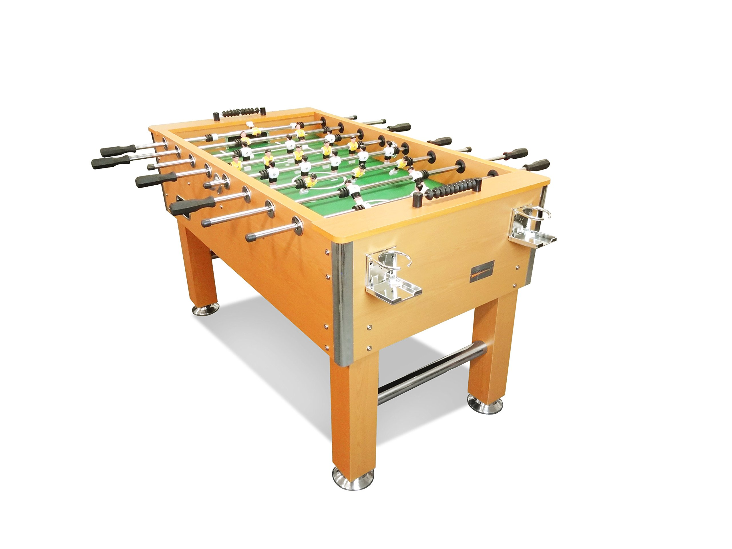 T&R sports 60'' Soccer Foosball Table Heavy Duty for Pub Game Room with Drink Holders, Oak
