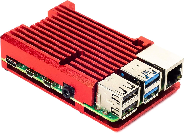 Carcasa de aluminio disipador de calor para Raspberry Pi 4 (Rhodolite Red)