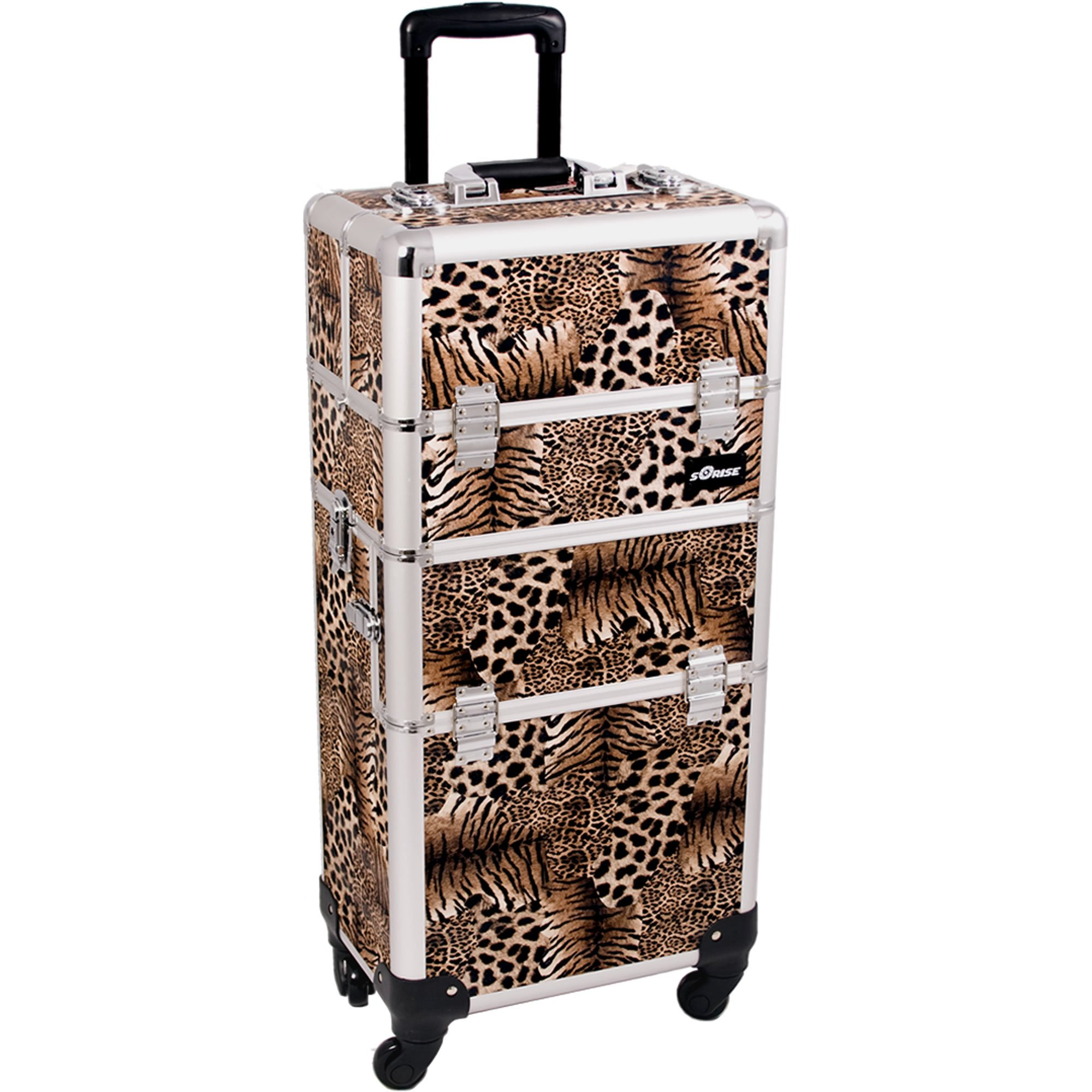 SUNRISE Makeup Case on Wheels 2 in 1 I3561 Hair Stylist Professional, 3 Trays and 1 Removable Tray, Locking with 2 Mirrors, Brush Holder and Shoulder Strap, Brown Leopard