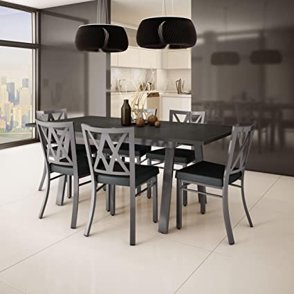 Amisco Washington Metal Chair and Drift Extendable Table Dining Set (4 6 or 8 : extendable table and chairs set - Pezcame.Com
