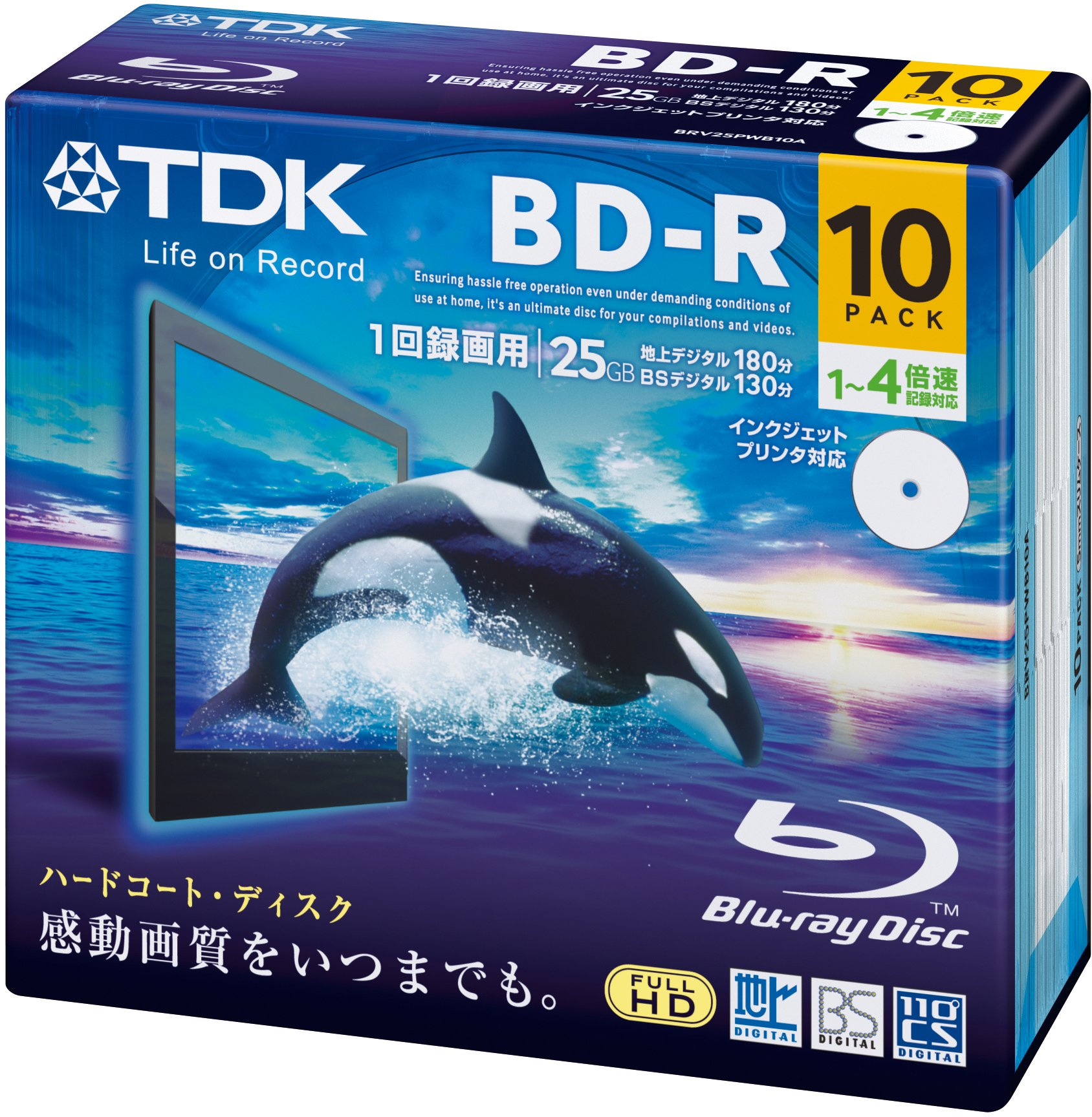 TDK Blu-ray BD-R Disk | 25GB 4x Speed 10 Pack in Jewel Cases Printable