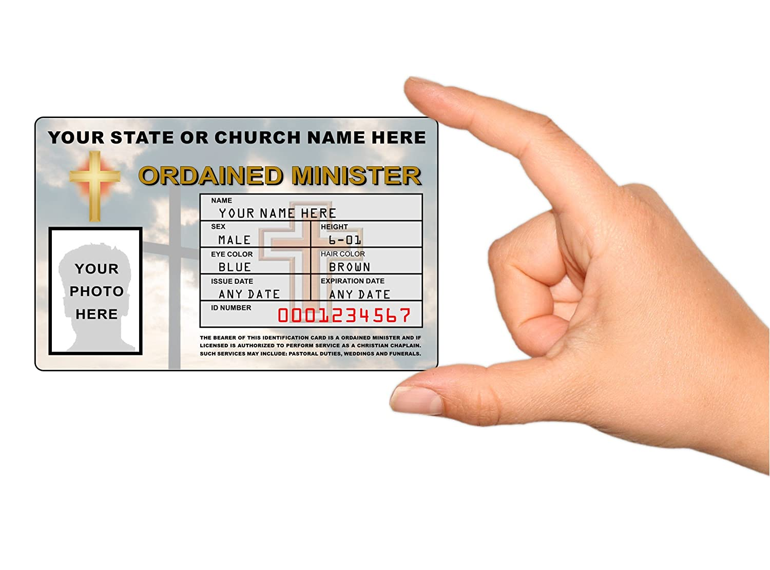 graphic about Free Printable Church Usher Hand Signals named Ordained Minister Identification Card - Customized with Your Photograph and Content material - Church Id