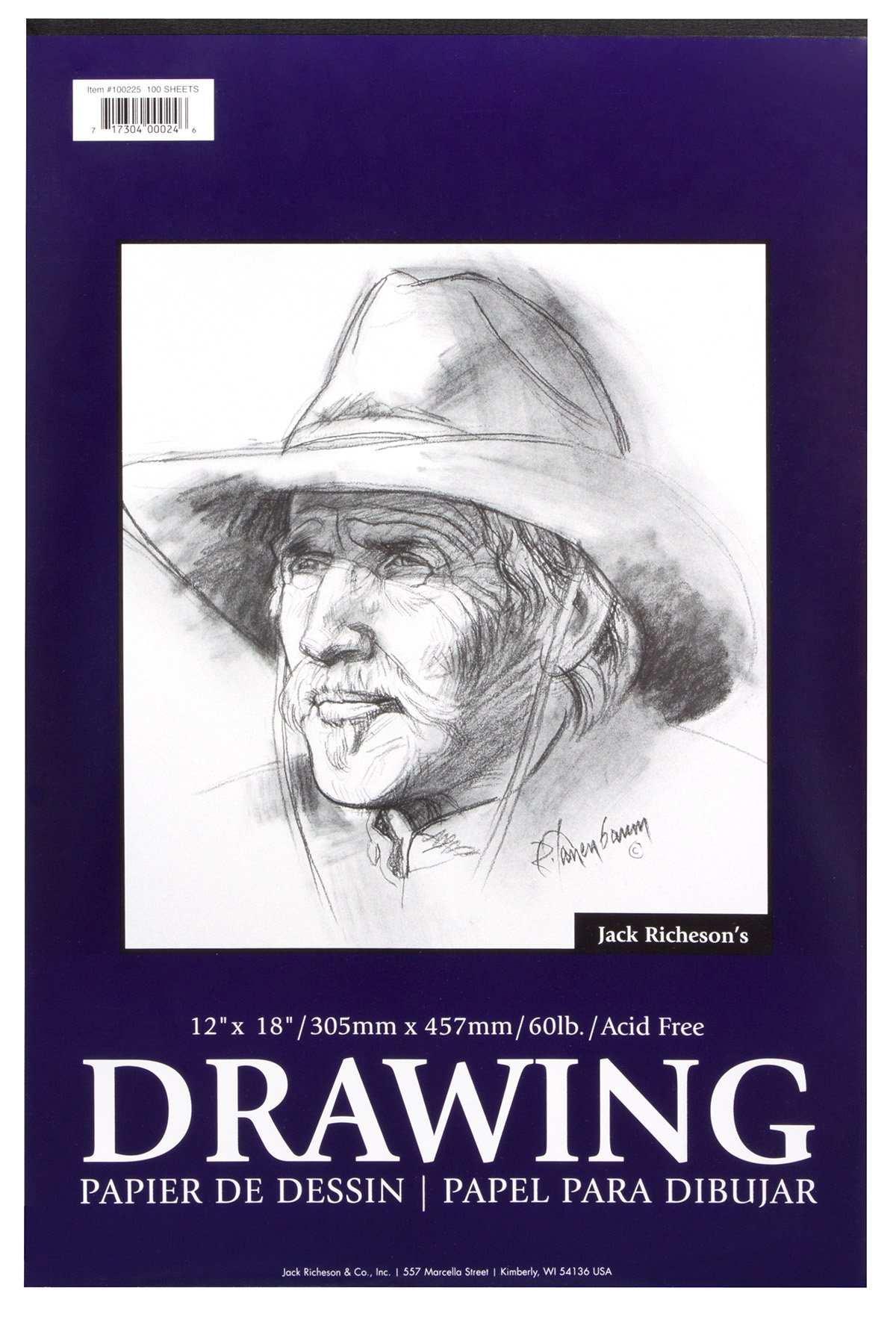 Jack Richeson Tape Bound Drawing Pad 12 x 18 60lb 100 Sheet by Jack Richeson