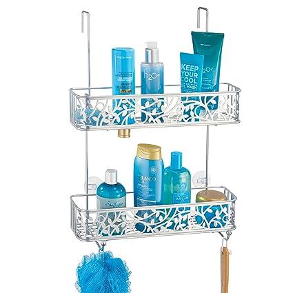 mDesign Cesta de ducha para la mampara – Estante para ducha sin taladros – Estanterías  para 9fefe13f81d2