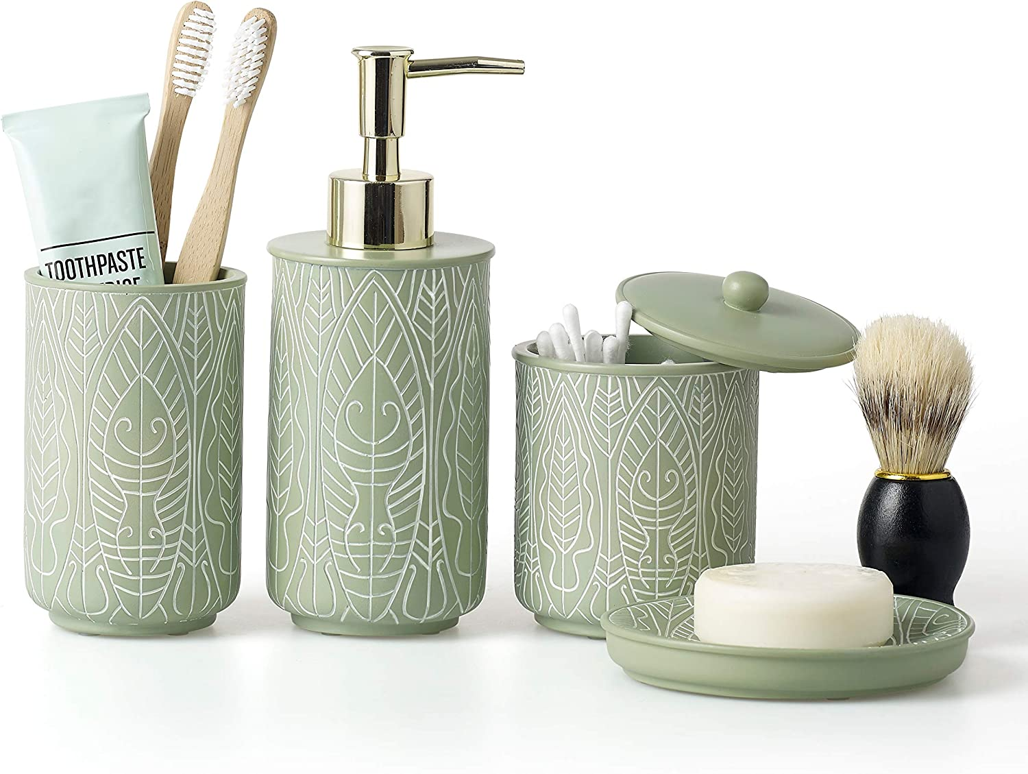 VIRTUNE Premium Pastel Green Bathroom Accessory Set. Home and Apartment Essentials Including Hand Pump Soap Dispenser, Soap Dish, Toothbrush Holder, and Tumbler Cup. Modern Bathroom Decor