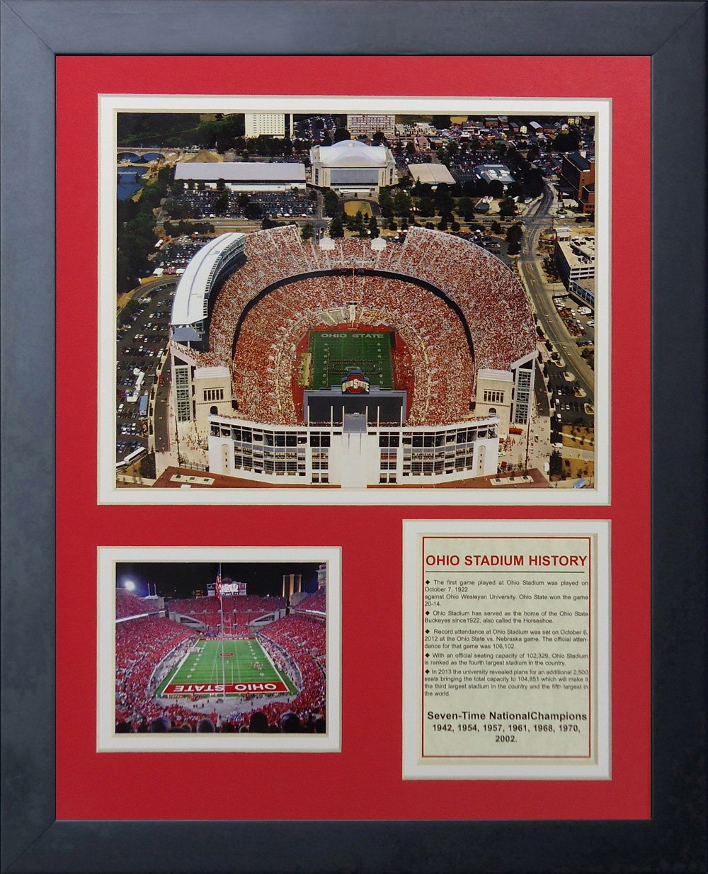 Legends Never Die Ohio State Buckeyes Ohio Stadium Framed Photo Collage, 11 by 14-Inch