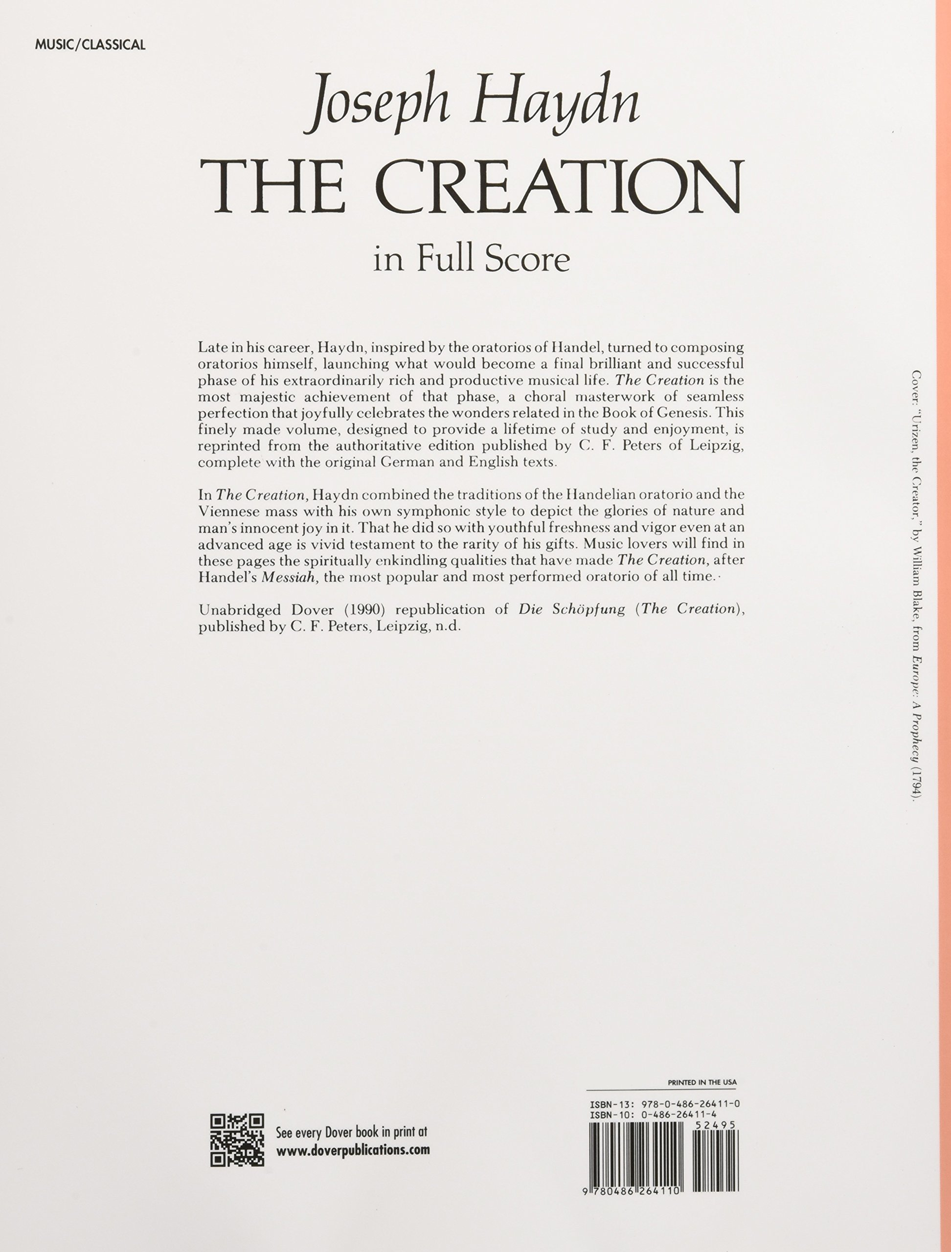 The Creation in Full Score (Dover Music Scores): Joseph Haydn:  9780486264110: Amazon.com: Books