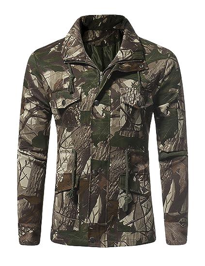 Homme Vert Style Militaire Camouflage Legou Clair Blouson Manteau SXwwgd