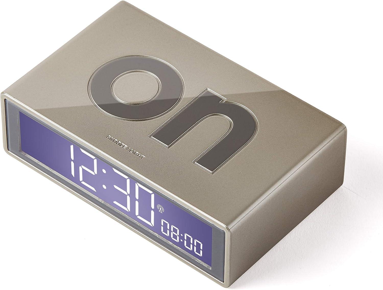 Lexon Flip+ LCD - Reloj Despertador con Pantalla LCD, Color Dorado