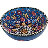 Handmade Ceramic Decorative Soup and Cereal Bowls - Set of 2 - different colors and patterns - 6 inch - 16 oz great serving Bowls (Aegean blue)