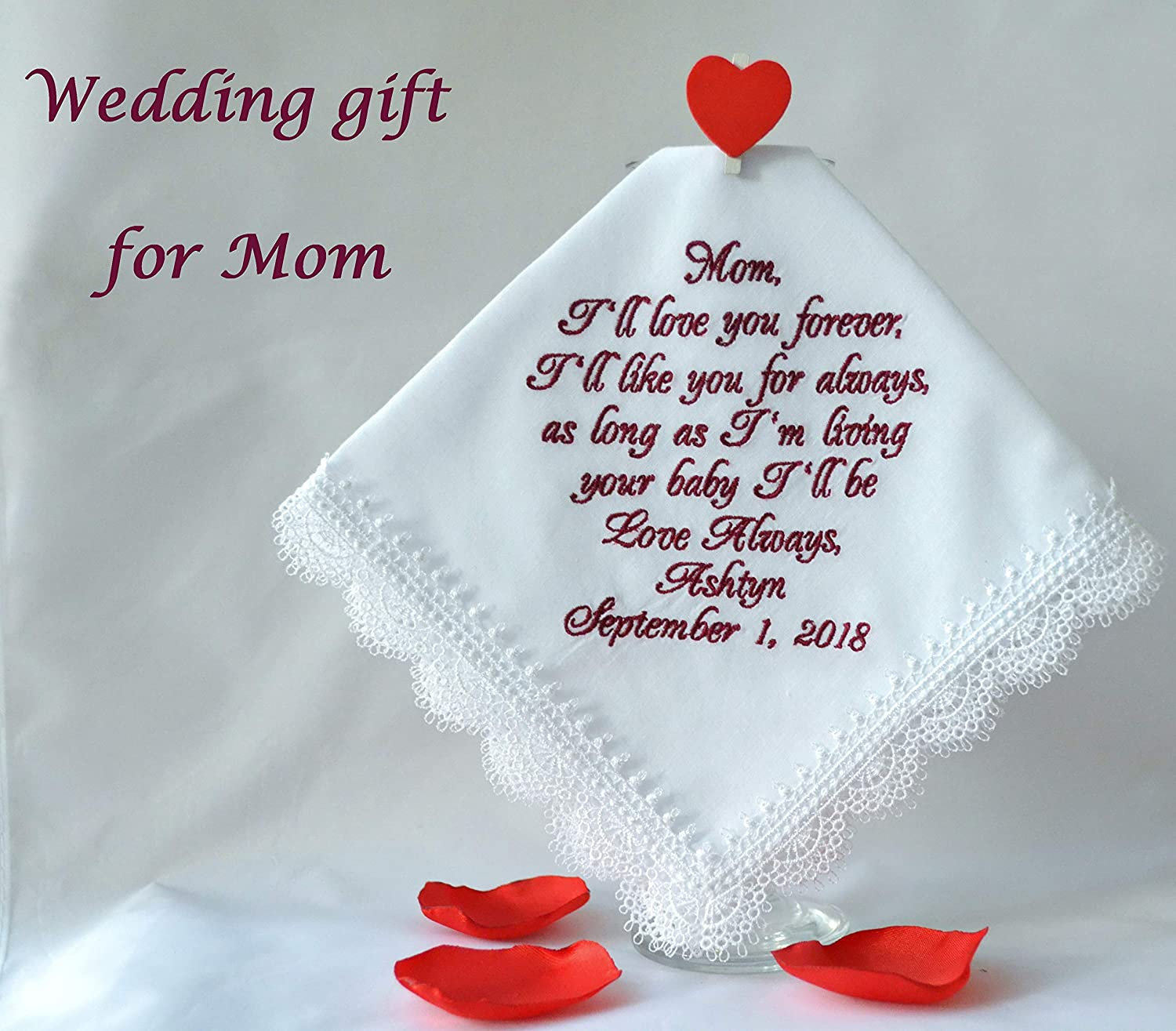 Burgundy wedding Gift for Mother of the bride I'll love you forever, Wedding gift for Mom from daughter Personalized hankie Custom Hanky Wedding Handkerchief embroidered wedding keepsake