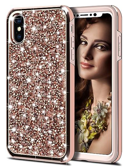a94d8c2d1a2 Amazon.com  HoneyAKE Glitter Case for iPhone Xs iPhone X