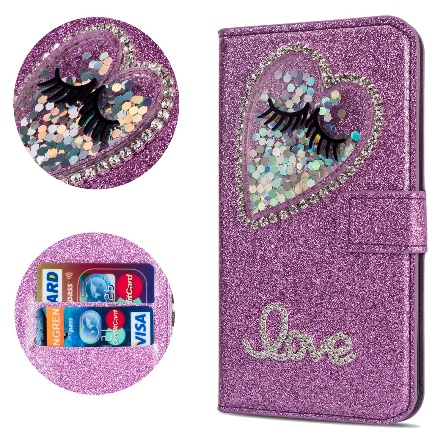 Stysen Flip Case for Galaxy S6 Edge,Leather Cover with 3D Handmade Diamond Heart Sequins Glitter Shiny Wallet Magnetic Clasp for Samsung Galaxy S6 Edge