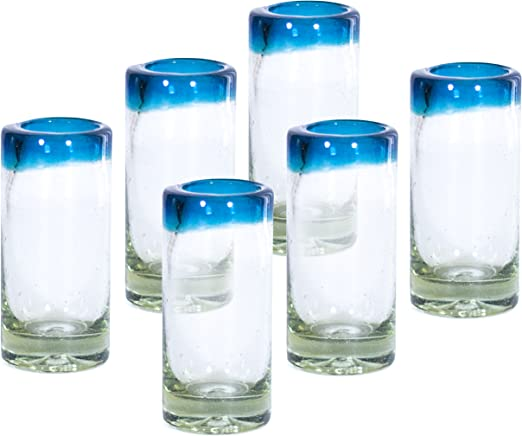 2 oz Tequila Blues set of 6 NOVICA Artisan Crafted Hand Blown Clear Blue Rim Recycled Glass Shot Glasses