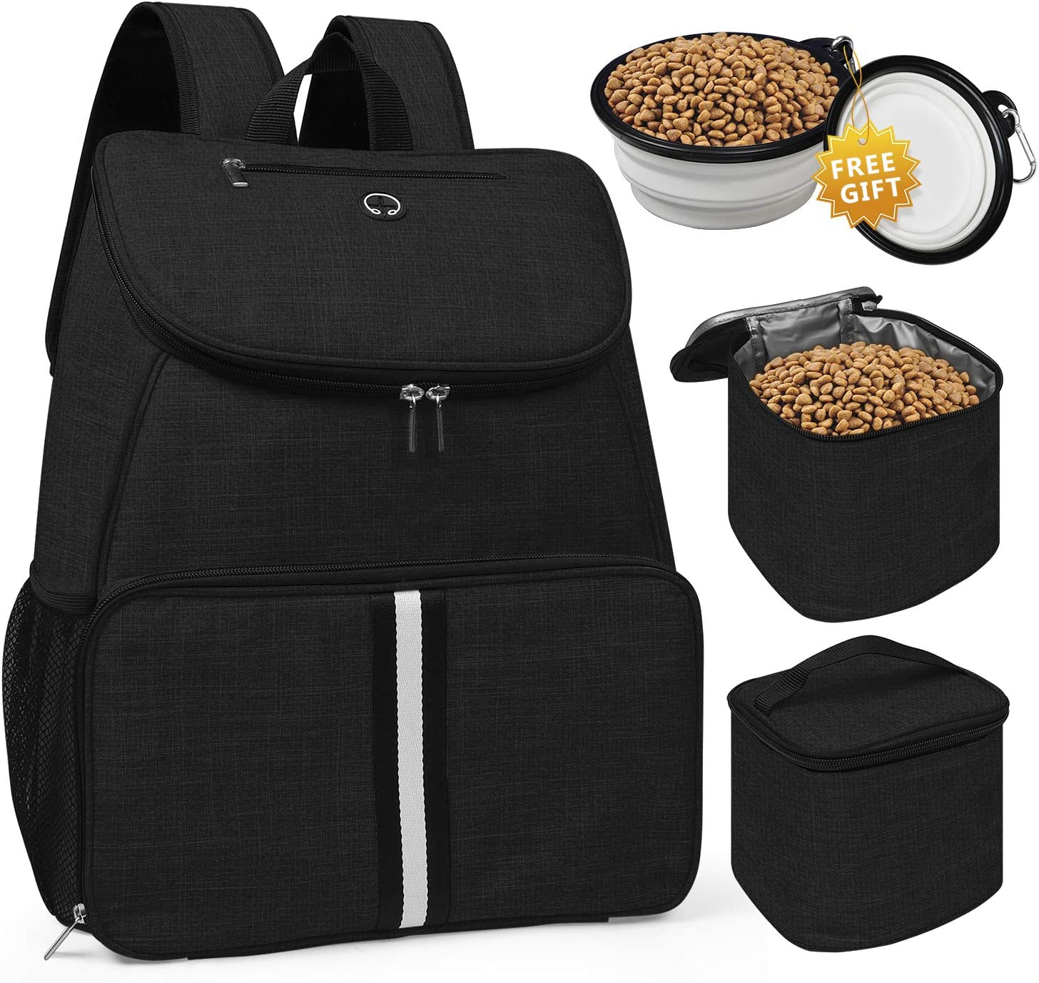 BAGLHER 丨Dog Travel Bag,Airline Approved Pet Supplies Backpack,Dog Travel Backpack with 2 Silicone Collapsible Bowls and 2 Food Baskets. Black
