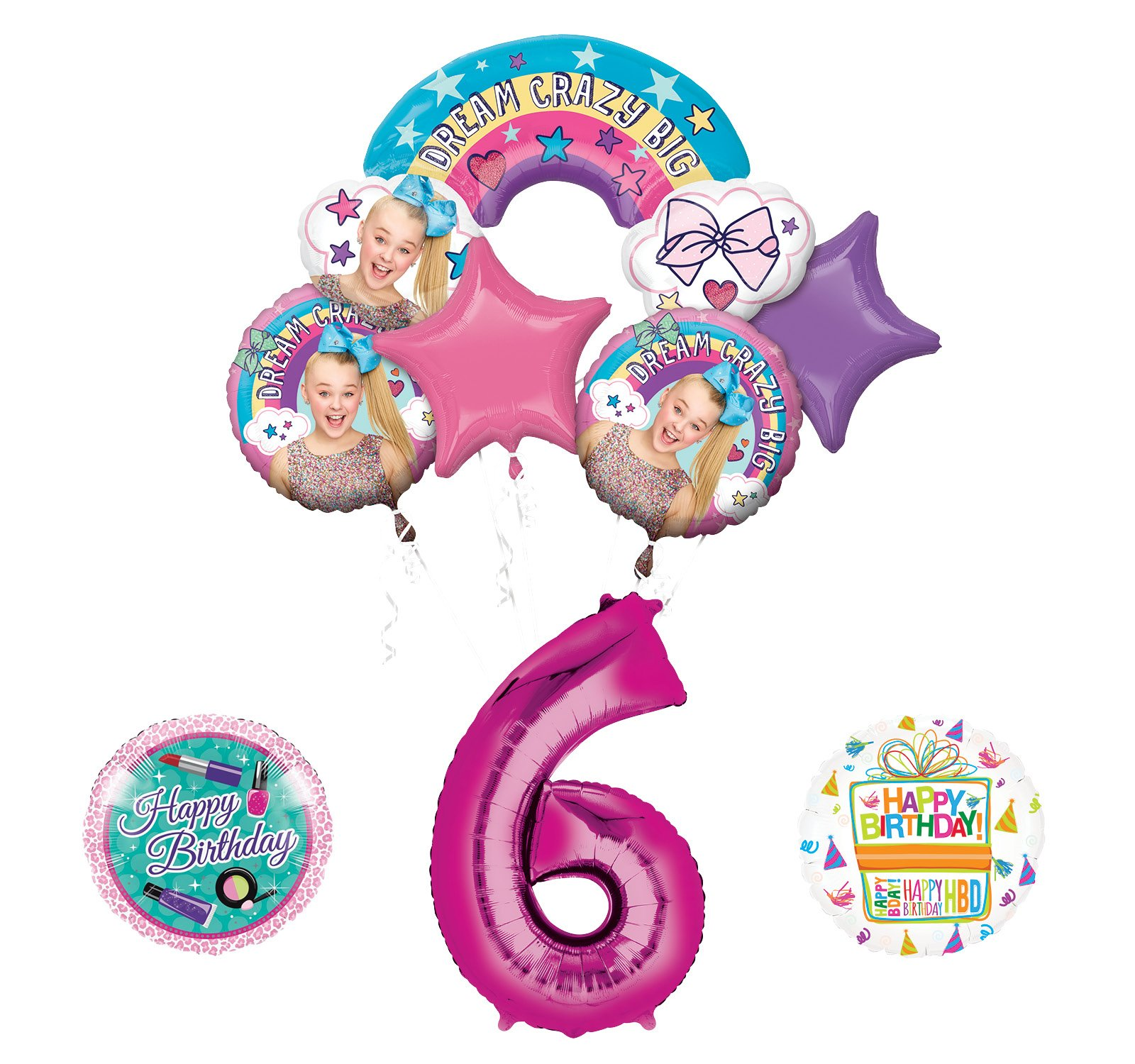 Mayflower Products JoJo Siwa 6th Birthday Balloon Bouquet Decorations and Party Supplies