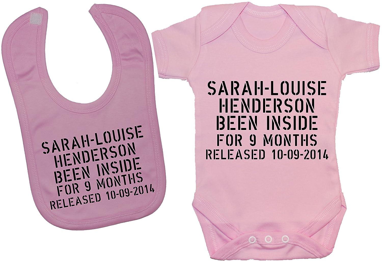 Personnalisé avec un nom & Date de naissance été intérieur pour 9 mois-Body bavoir/body & bébé 0 à 12 mois