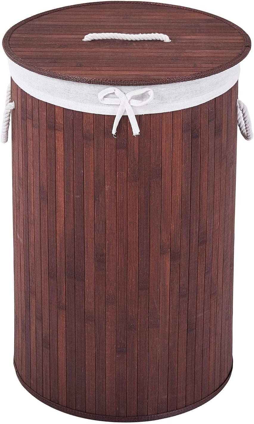 COZAYH 72L All-Natural Bamboo Laundry Hamper with Lid, String Handles and Removable Liner, Foldable Storage Basket, Easily Transport Laundry Bin, Round in Brown/Natural Bamboo Color (Brown)