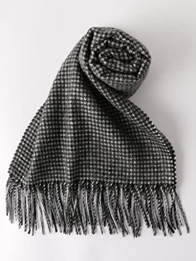 Cashmere Scarf: Black Houndstooth 1336-699-3267