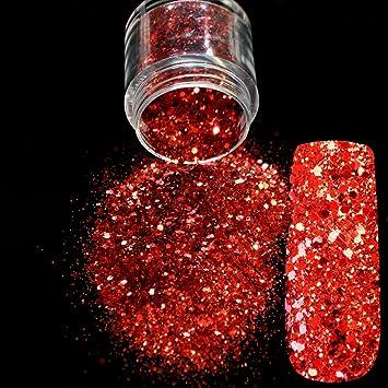 Amazon Com Red Glitter Nail Art Tool Diy Glitter Mix Manicure 3d