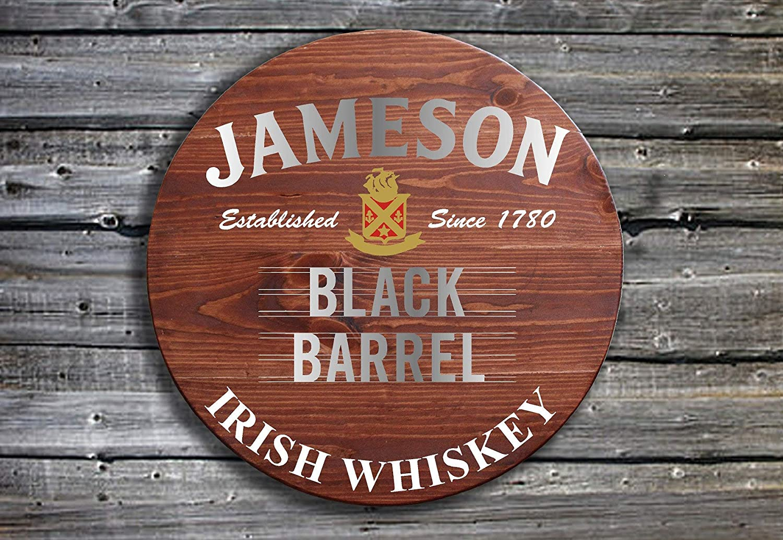 EricauBird Wall Art Jameson Black Barrel Irish Whiskey - Barrel End Style Wooden Pub Sign - Hand Made in Ireland Wood Plaque, Custom Gift