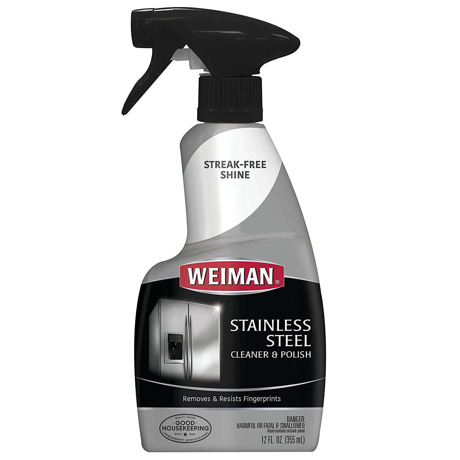 Weiman Stainless Steel Cleaner & Polish Trigger Spray - Protects Appliances From Fingerprints and Leaves a Streak-free Shine - 12 fl. Oz.