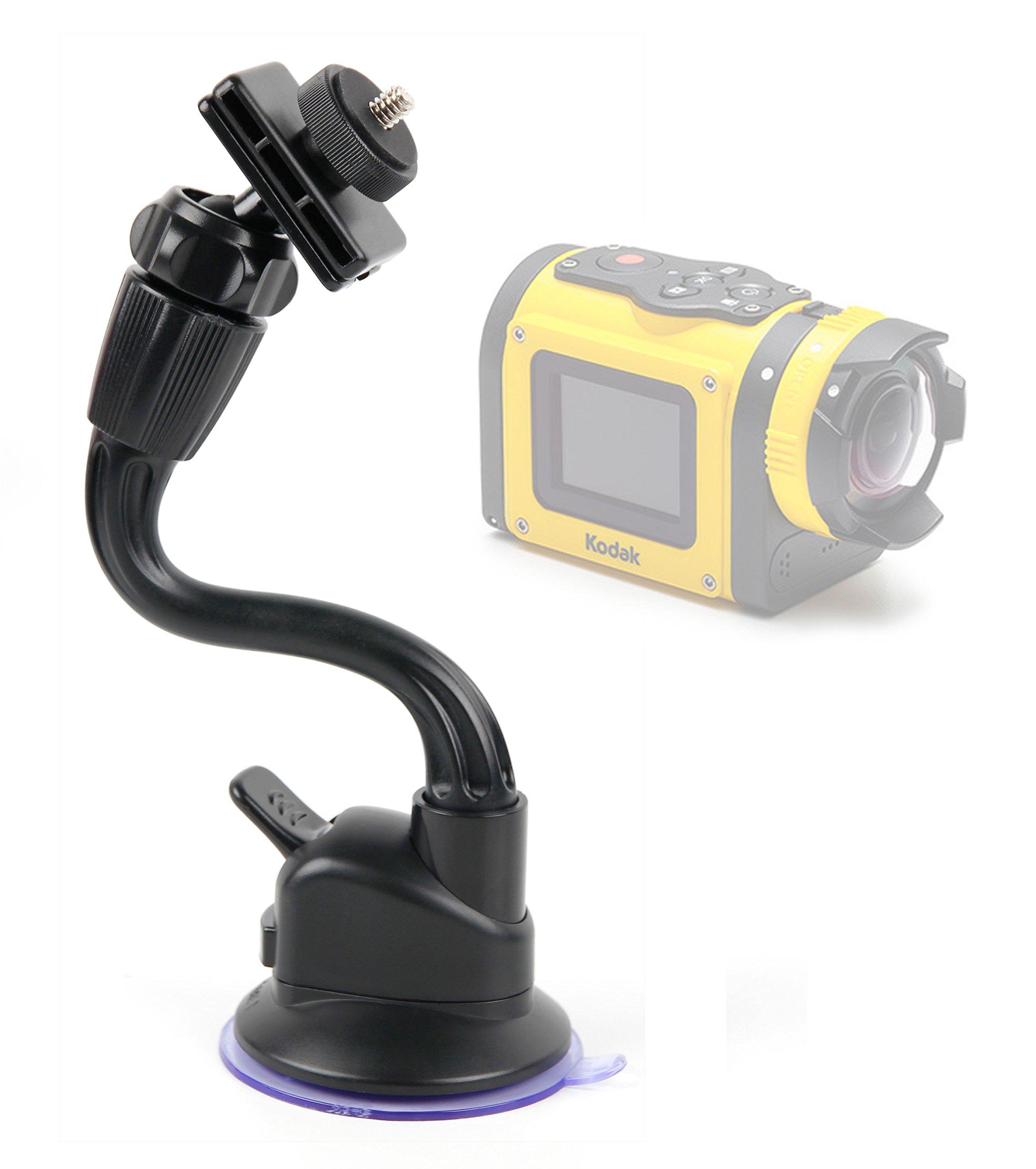 DURAGADGET in Car Anti-Shake Flexible Arm Suction Mount - Compatible with The Kodak SP360 4K | Pixpro SP1 | PixPro SP360 Action Cameras