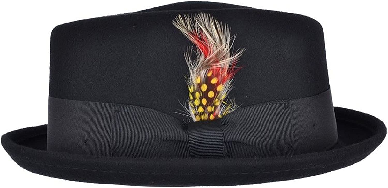 Hand Made Crushable Pork Pie Hat With Removable Feather 100/% Wool Smooth Finish