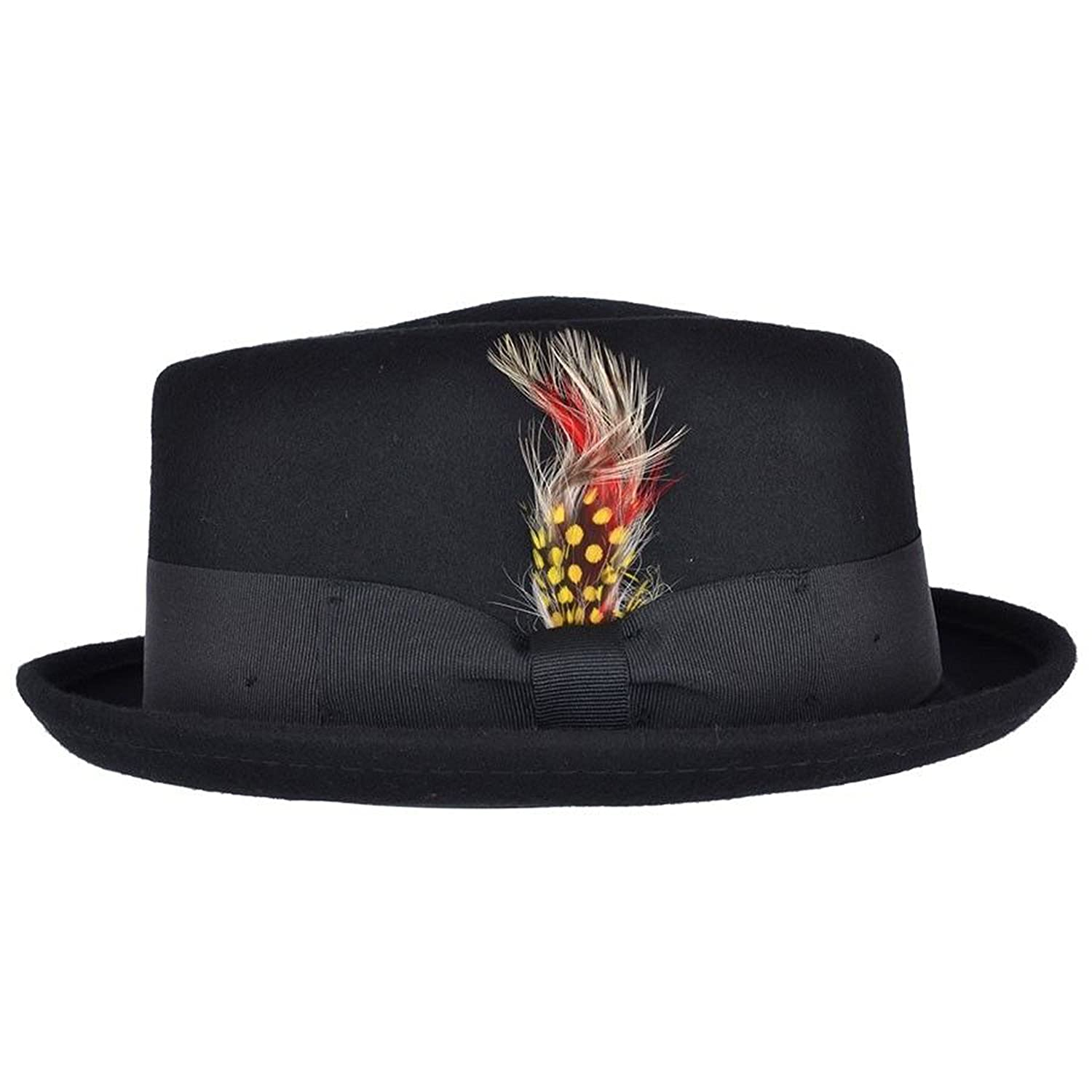 Unisex Superb Foldable Pork Pie Trilby Hat with Removable Feather and Matching Band 100/% Wool Hand Made Diamond Crown Black