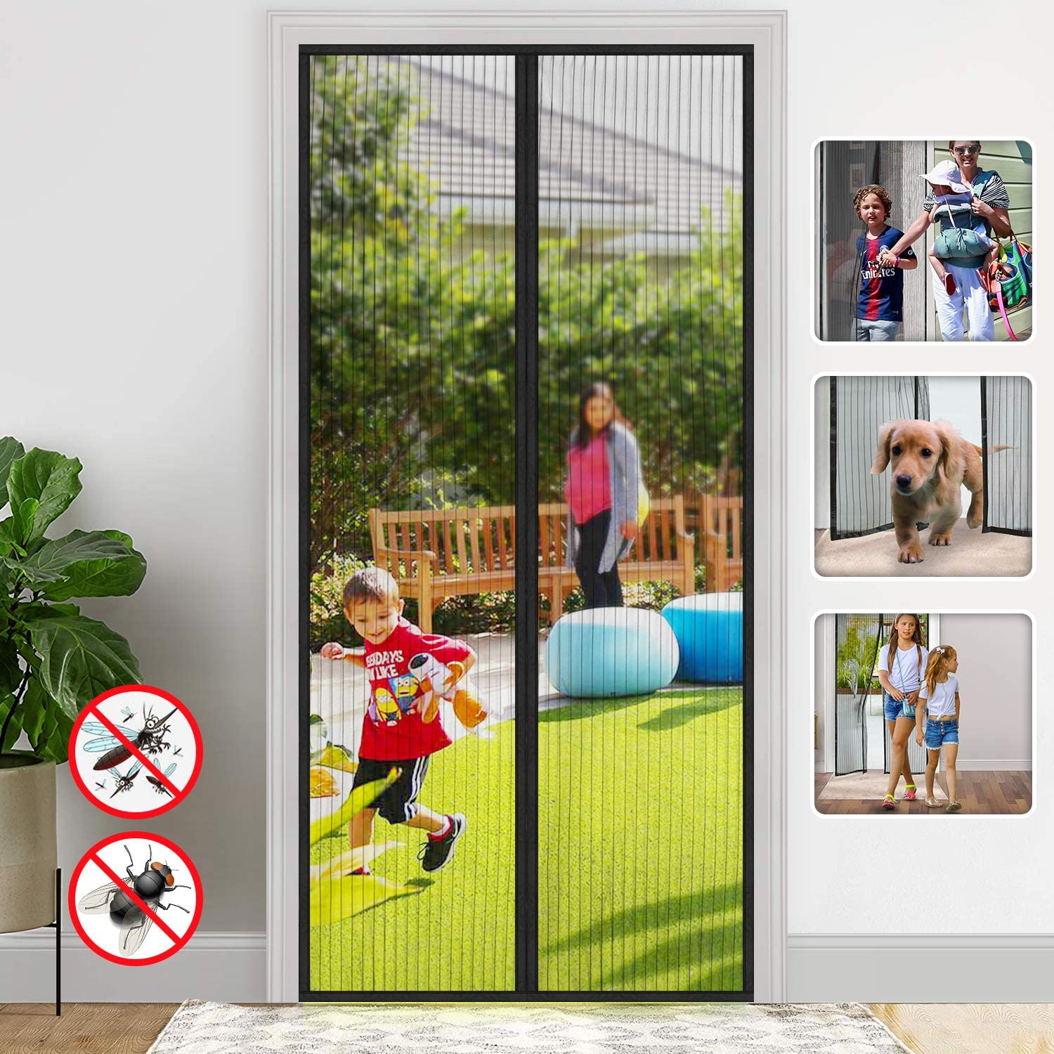 Magnetic Screen Door/Full Frame Seal Heavy Duty Mesh Curtain Screen Doors with Magnets/up to 38 x 82-Inch, Black - -