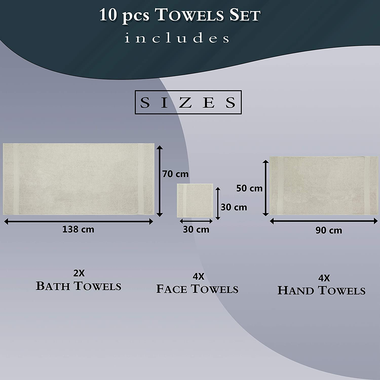 Bathroom Accessories Bright Orange Oeko-Tex Standard 100 500 GSM Zero Twist 100/% Ring Spun Cotton Quick Dry Highly Absorbent Soft Feel Daily Use 10 Piece Bath Hand Face Towel Bale Set