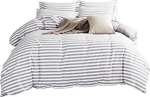 White Duvet Cover Set Striped Duvet Covers Contrast 2 Tone Reversible Comforter Cover Twin Bedding Set Zipper Closure Twin Duvet Covers Kitchen Dining