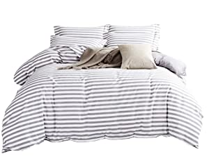 DelbouTree 3 Pieces Bedding Set,Reversible Duvet Cover Sets,White Duvet Cover Reverse to Solid Grey,Striped Duvet Cover,Quilt Cover Sets,King Comforter Cover with Zipper Closure and Corner Ties