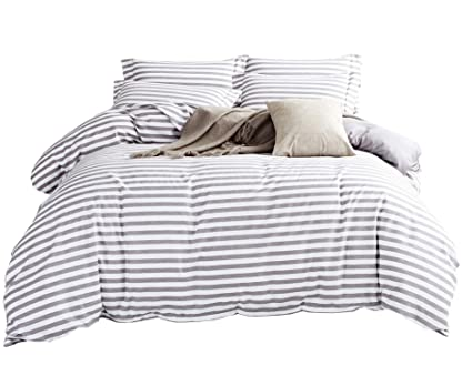 cdf2307bff5c DelbouTree 3 Pieces Bedding Set,Reversible Duvet Cover Sets,White Duvet  Cover Reverse to
