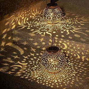 2Pack Solar Garden Lanterns Outdoor Hanging Lights Decorative Metal Moon Star Sun Table Lamps for Patio, Yard, Table, Pathway Decoration Waterproof (Bronze)