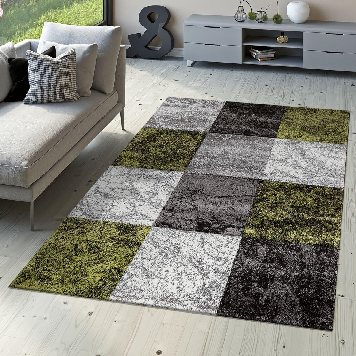 T&T Design Designer Teppich Valencia Modern mit Marmor Optik Kariert Meliert Grün Grau Weiß, Größe 160x230 cm