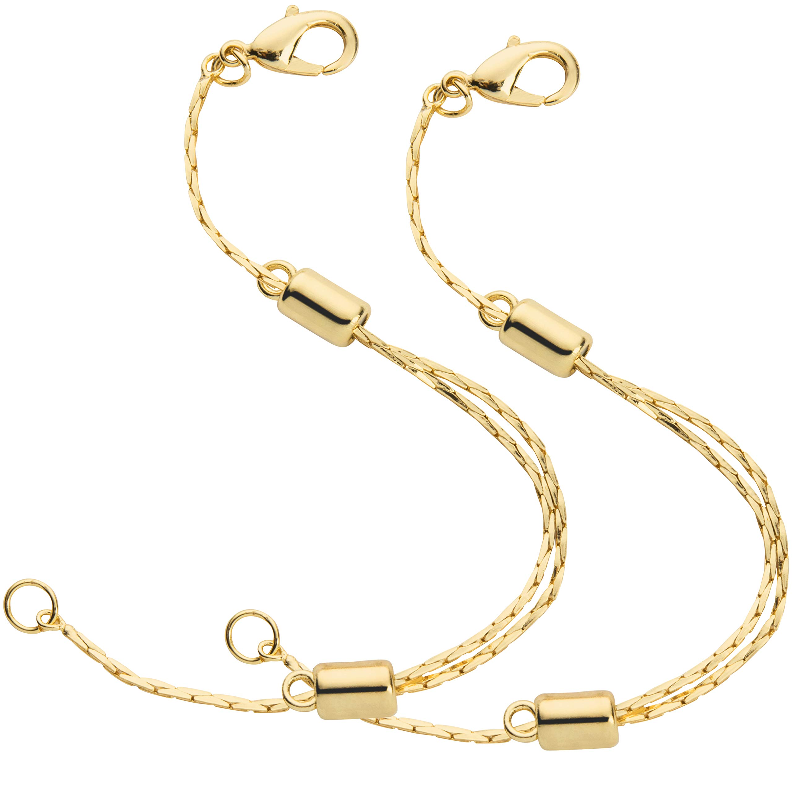 14K Yellow Gold Filled Adjustable Necklace Chain Extender with Lobster Clasp, 2 Extenders by Everyday Elegance Jewelry
