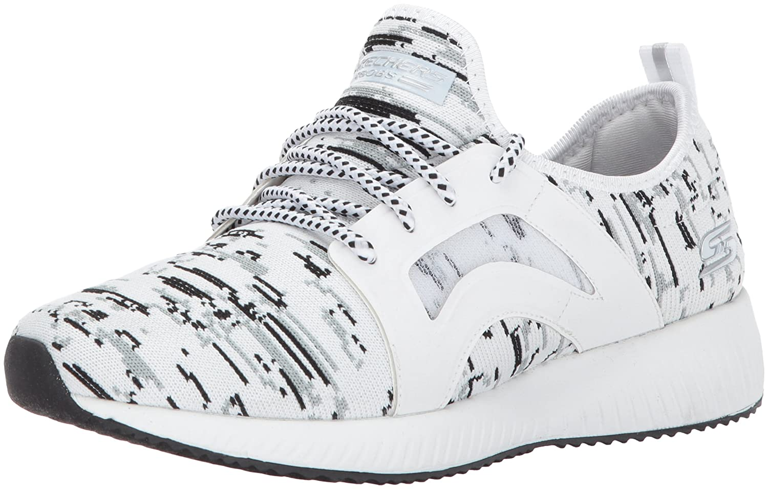 Skechers BOBS from Women's Bobs Squad-Double Dare Fashion Sneaker B0723HSLXC 8.5 B(M) US|White/Black Gray