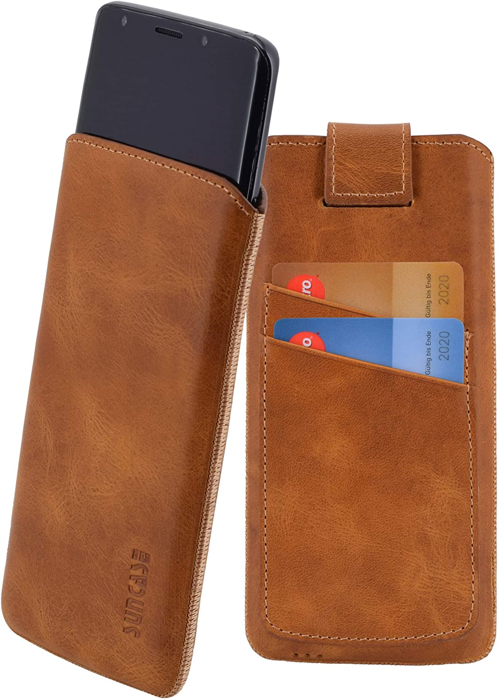 mit R/ückzugsfunktion und zwei Kartenf/ächer schwarz Suncase ECHT Ledertasche Leder Etui f/ür iPhone X