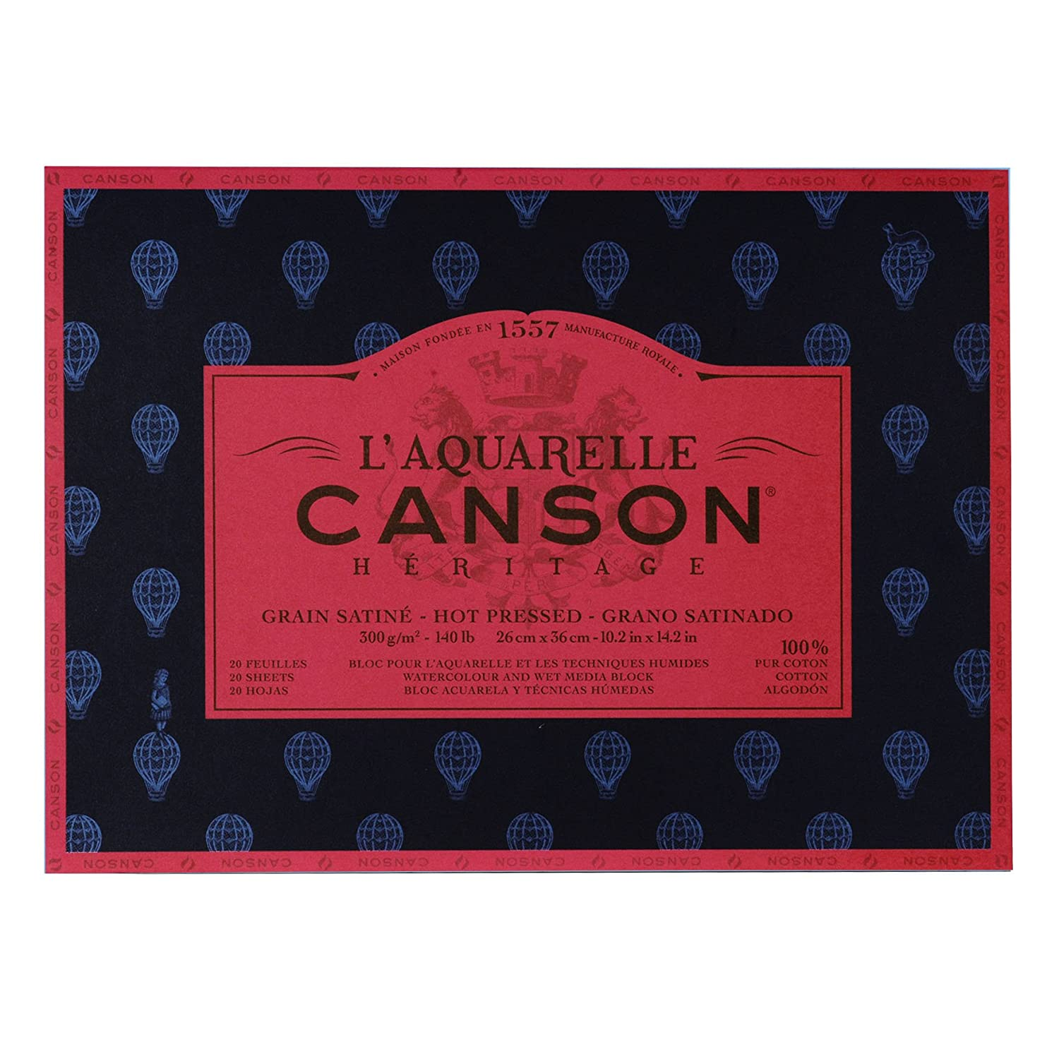 Canson Heritage Watercolour Pad, Sticks, 4 Sides, 20 Sheets, Satin Grain Satin Finish 26 x 36 cm 100720008
