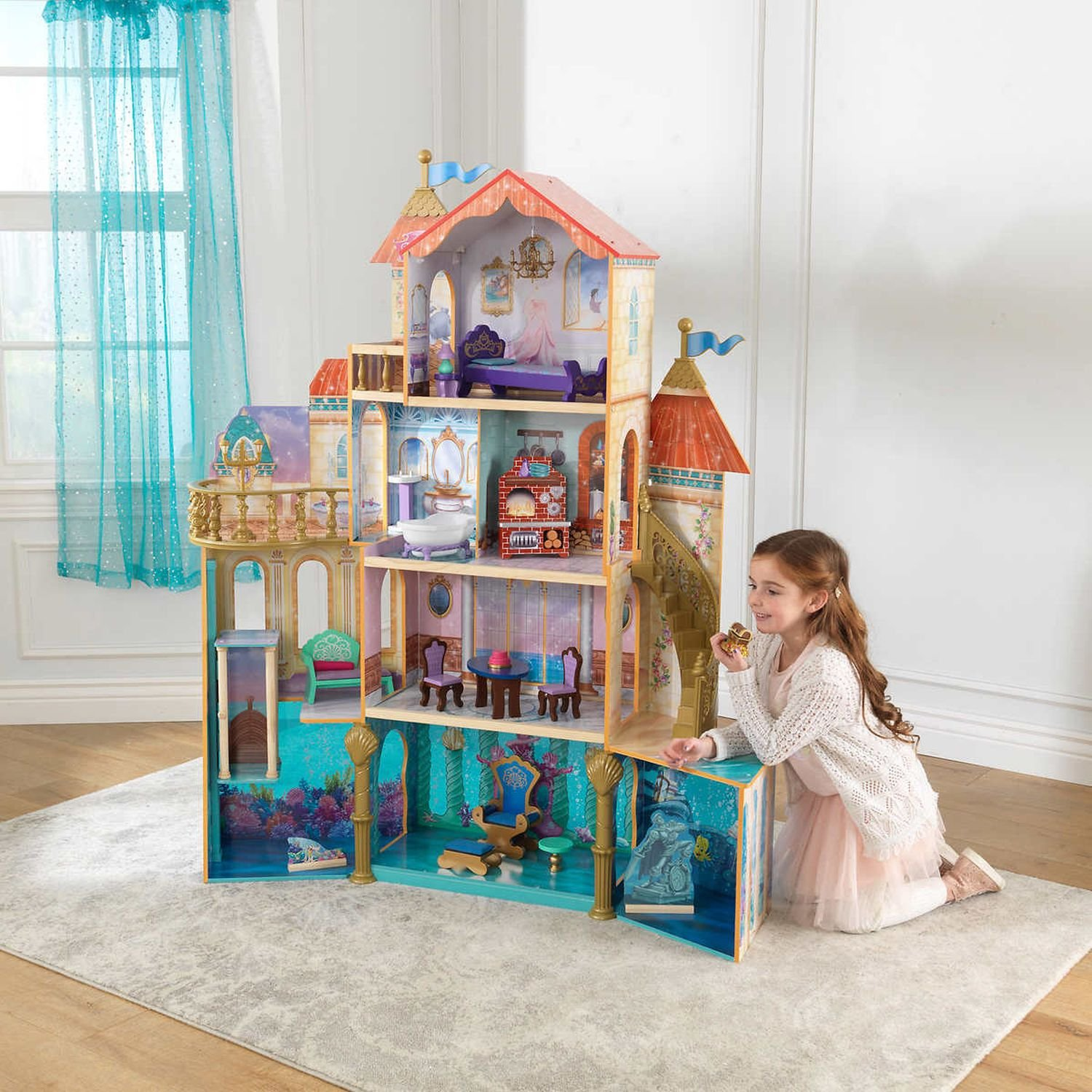 KidKraft Ariel Under the Sea Kingdom Dollhouse, Massive Tall Dollhouse featuring 4 Levels with 11 Areas of Play, Perfect Gift for your Princess Girls Toy Kids Christmas Gift