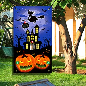 Figoal Halloween Bean Bag Toss Game with Pumpkin Witch and Ghost Kids Children Family Party Halloween Night Theme Indoor/Outdoor Parties Supplies Decoration Toss Game Banner for Teens