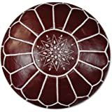 Poufs&Pillows Premium Artisanal Leather Pouffe - Handmade - Delivered stuffed - Ottoman, footstool, floor cushion (Bordeaux)
