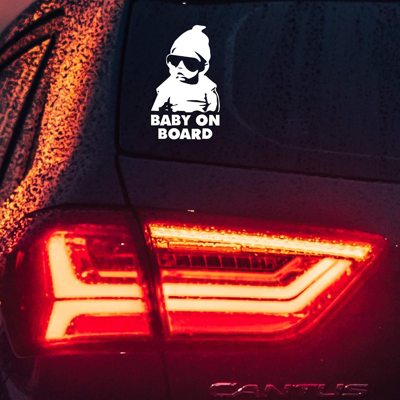 Vinyl Auto Aufkleber Baby On Board Kind Mit Sonnenbrille Hangover Film Stil Für Fenster Entfernbarer Sticker Diy 15x11 Cm Auto