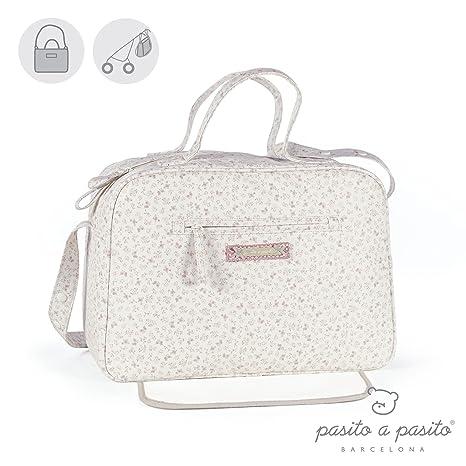 Pasito a Pasito - Bolsa canastilla o bolso para silla de paseo Laforet en polipiel beige estmpada con flores