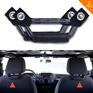 GPCA Headrest Grab Handles LITE Universal for Truck, Sports Car, Wrangler, Easy Headrest Post Mount for 4X4 Off-Road Backseat Passengers. GP Back Grip. Patented. (Black)