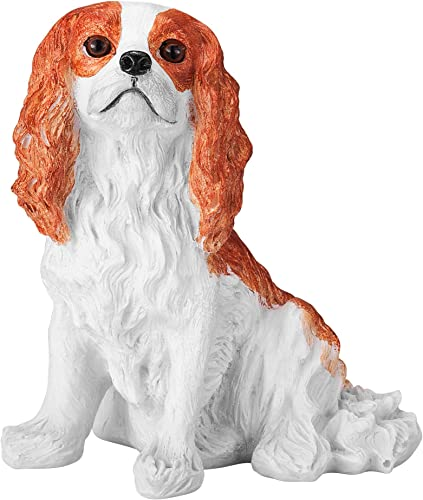 Chapman Sculptures Cavalier King Charles Spaniel Solid Hand Painted Dog Statue 5.6 Blenheim Color