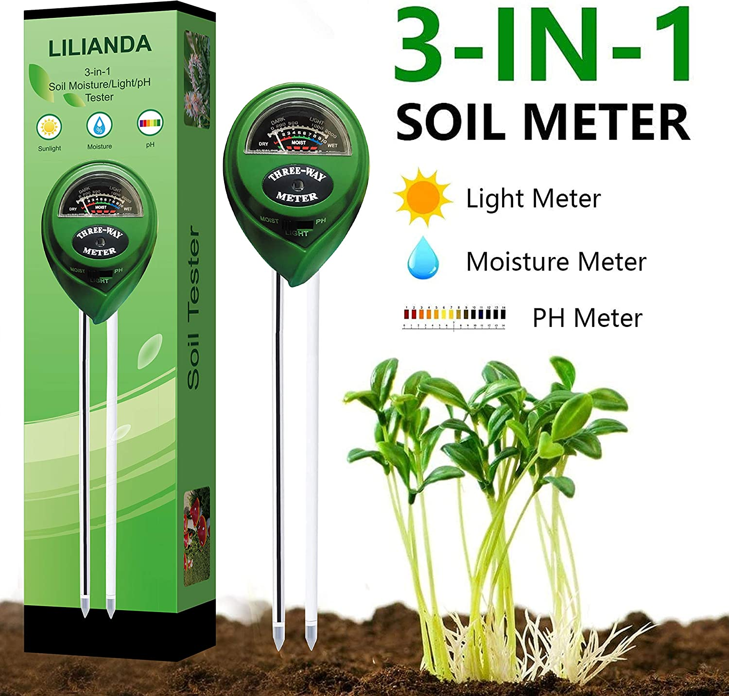 LILIANDA Soil pH Meter, 3-in-1 Soil Test Kit with Moisture,Light and PH Tester for Garden, Farm, Lawn, Plants, Indoor & Outdoor (No Battery Needed)