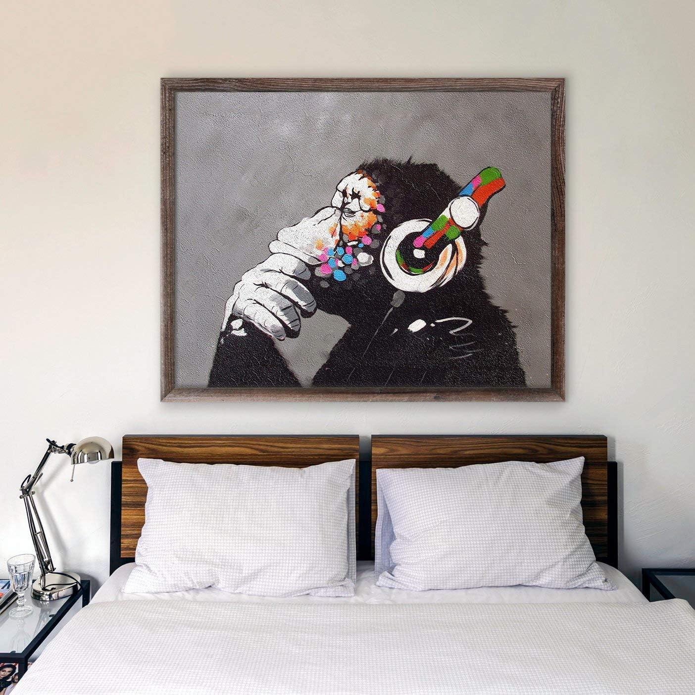 Banksy Monkey Headphones Graffiti 3d Smashed Wall Sticker Poster Bedroom Z699